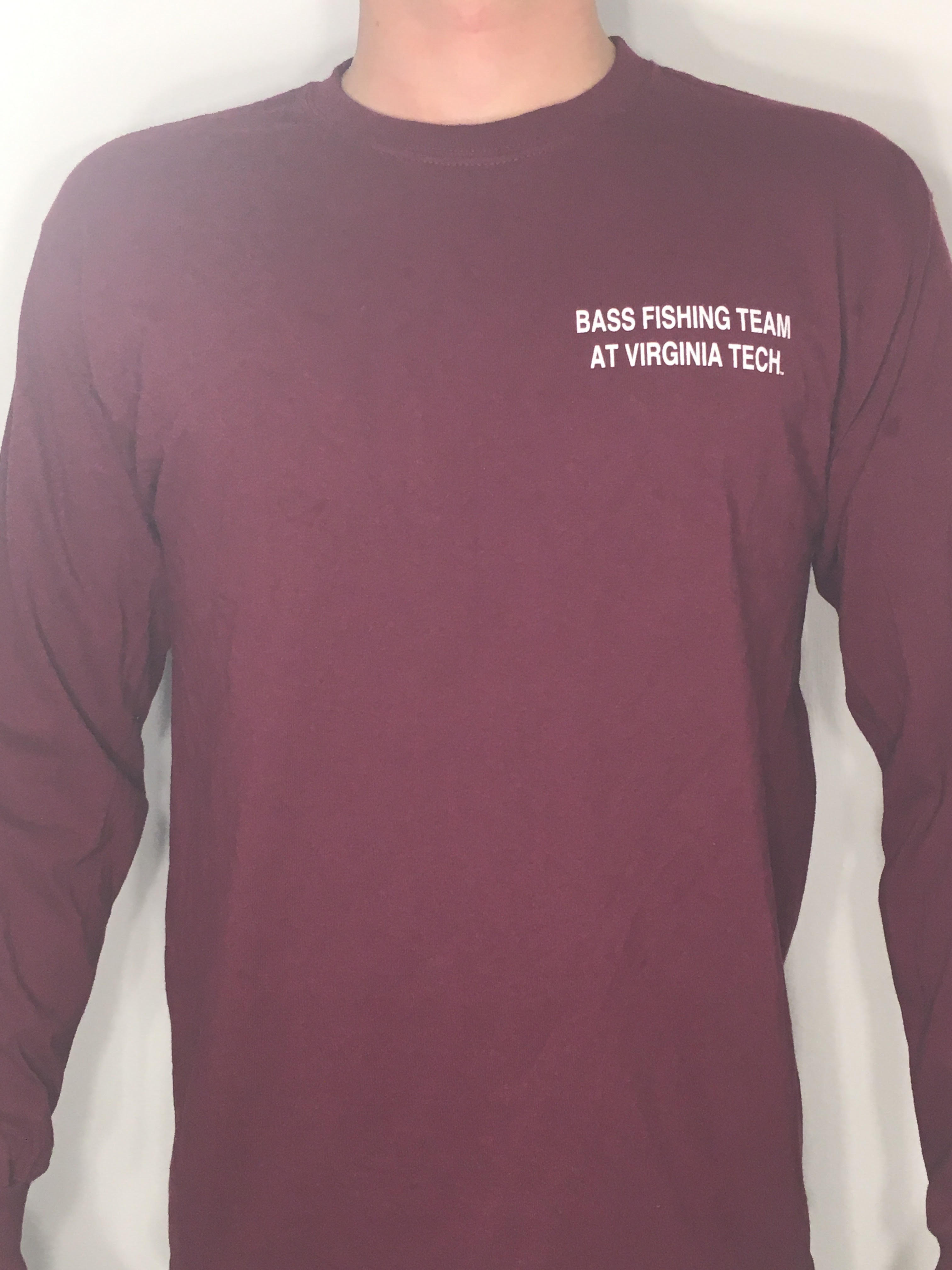 Hokie Bass Logo Shirt Long Sleeve – Maroon – Bass Fishing Team at ...